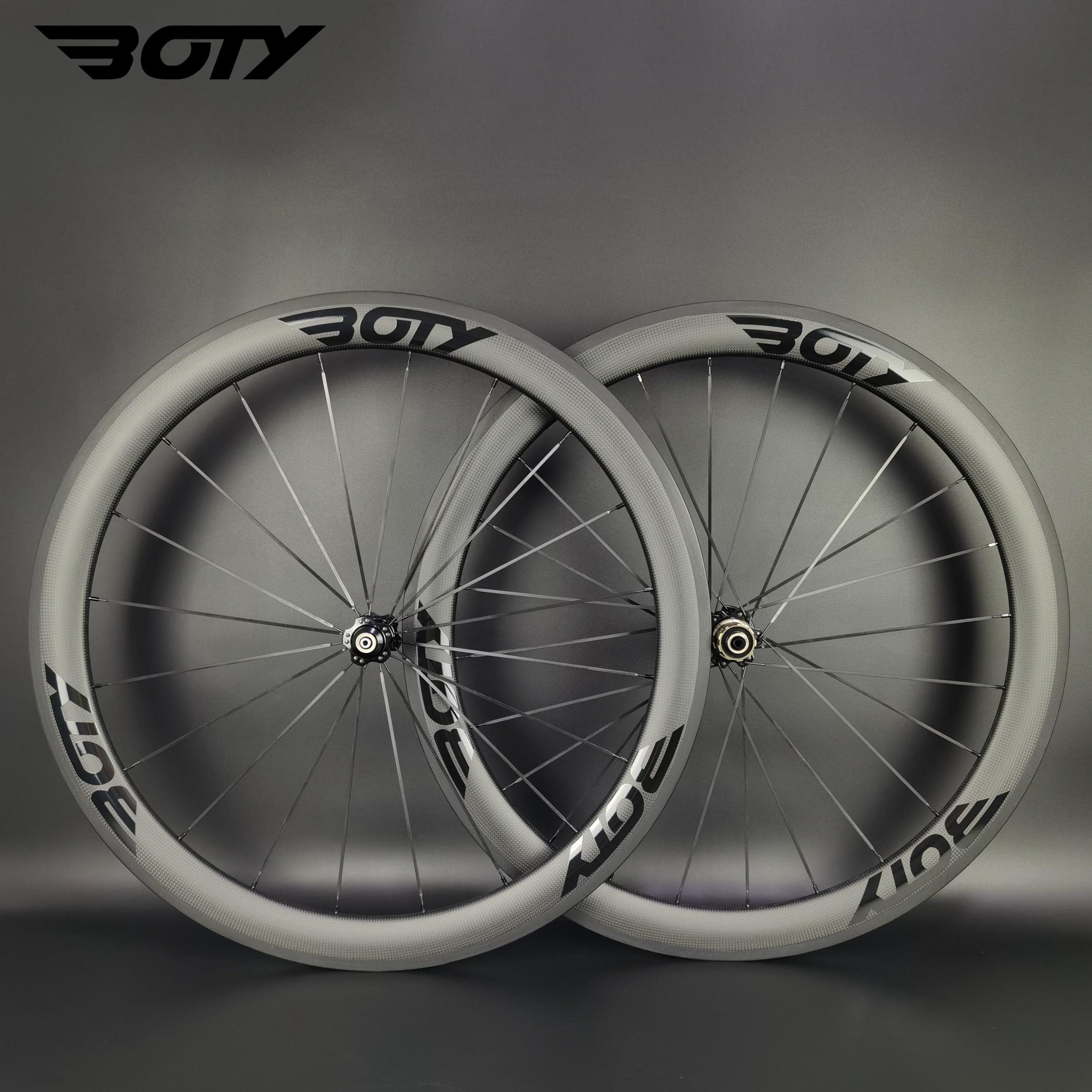 BOTY 700C الطريق دراجة ضوء عجلات الكربون 50 مللي متر عمق 23/25 مللي متر عرض الفاصلة/لايحتاج/أنبوبي دراجة العجلات مع 3k ماتي النهاية