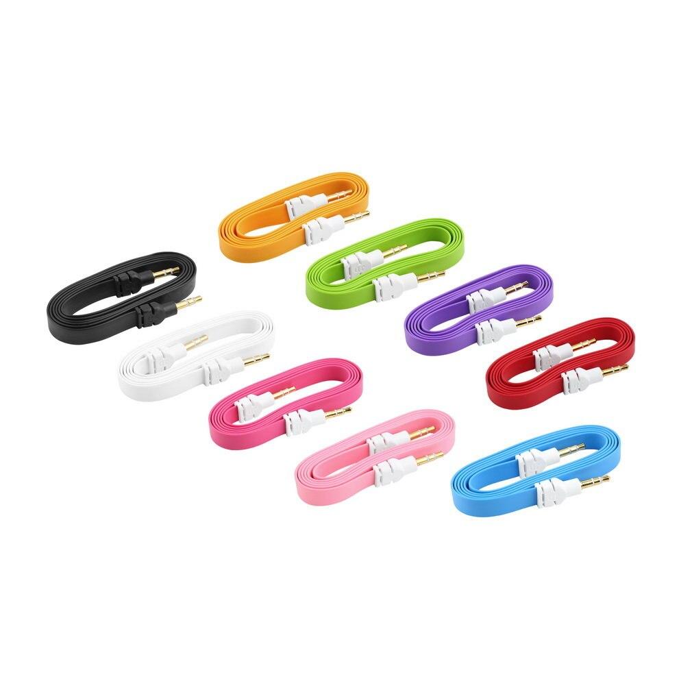 Cable auxiliar estéreo de 3,5mm de colores, Cable de música de Audio plano macho a macho 1 unidad