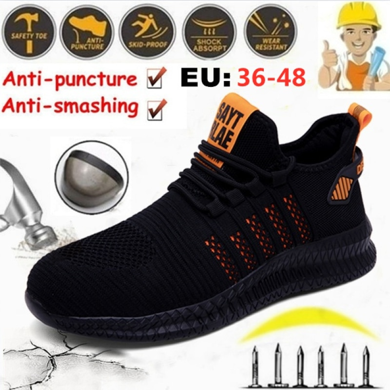2021 Outdoor Men's Work Steel Toe Safety Shoes Breathable Safety Boots Men's Sports Shoes Hiking Sho