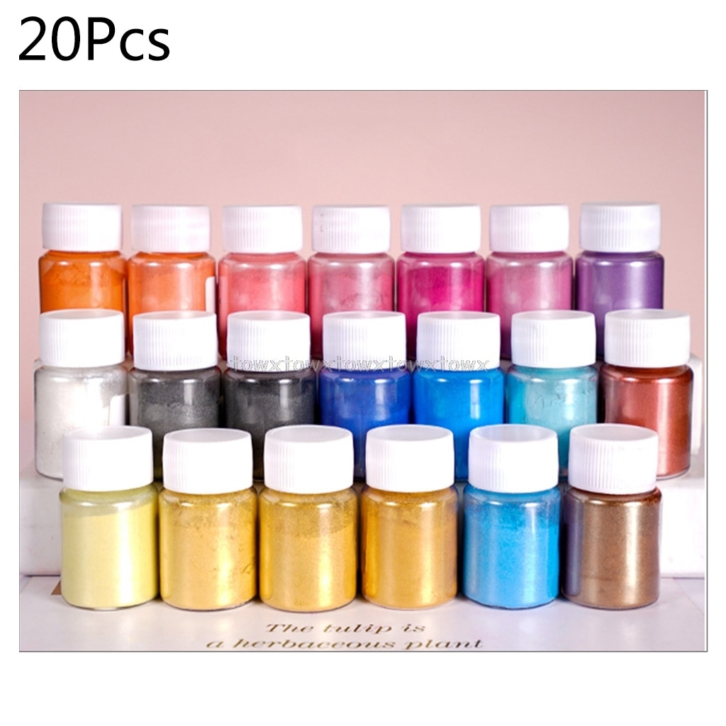 20 Pearlescent powder Epoxy Resin Dye Pearl Pigment Natural Mica Mineral Powder O16 19 Dropship