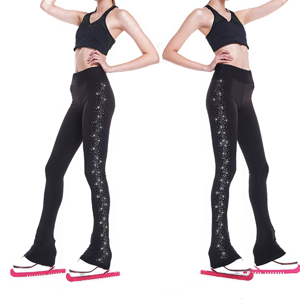 Women's Girls' Ice Figure Skating Training Clothes Long Pants Warm Tights Trousers with Rhinestones Dance Yoga Pants Trousers nike big girls 7 16 training warm up track pants pink