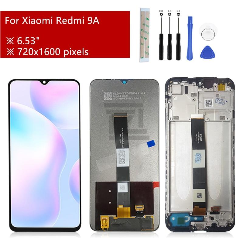 لشاشة Xiaomi Redmi 9A lcd, شاشة لمس ، مجموعة المحولات الرقمية مع إطار لاستبدال شاشة Redmi 9c ، قطع غيار 6.53 بوصة