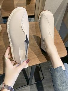 Soft Sole Shoes Woman 2021 Spring Flat Bottom Leather Shoes Women's Single Shoes Non Slip Versatile Flats Shoes Leisure Loafers