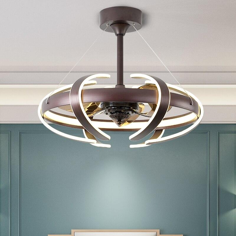 Luces de ventilador de techo de conversión de frecuencia Invisible nórdica restaurante con Control remoto para iluminación de sala de estar 220v 110V