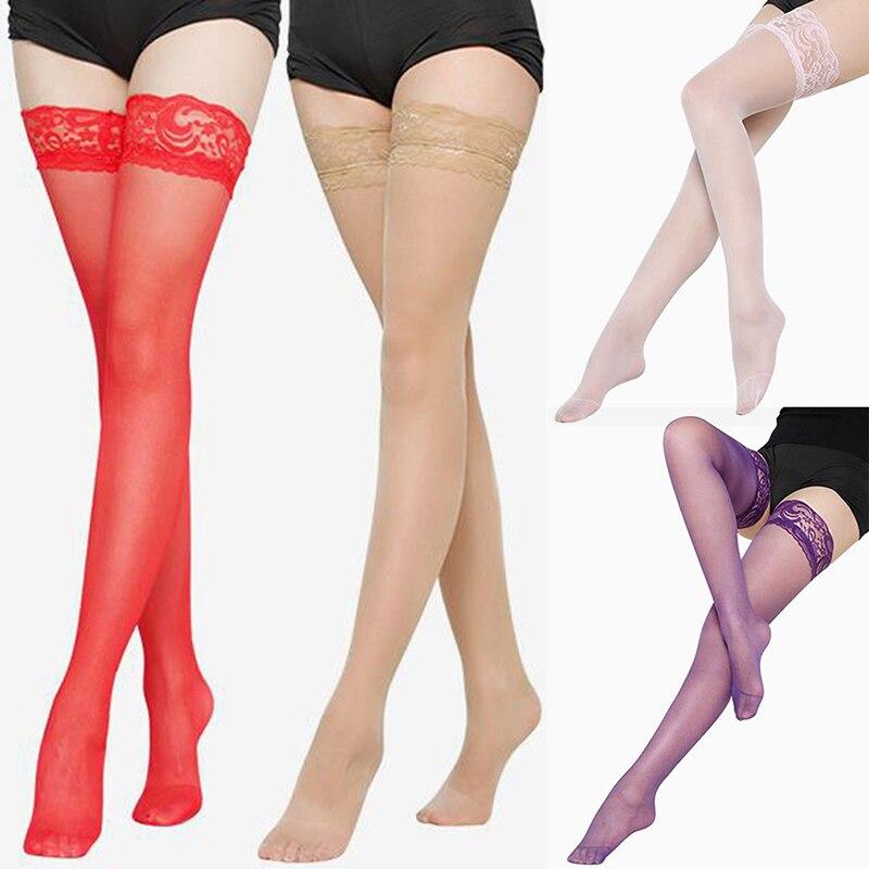 Женские сексуальные чулки, прозрачные кружевные чулки до бедра, трикотаж, женские эротические чулки, летние длинные носки, ночные клубы, чул...