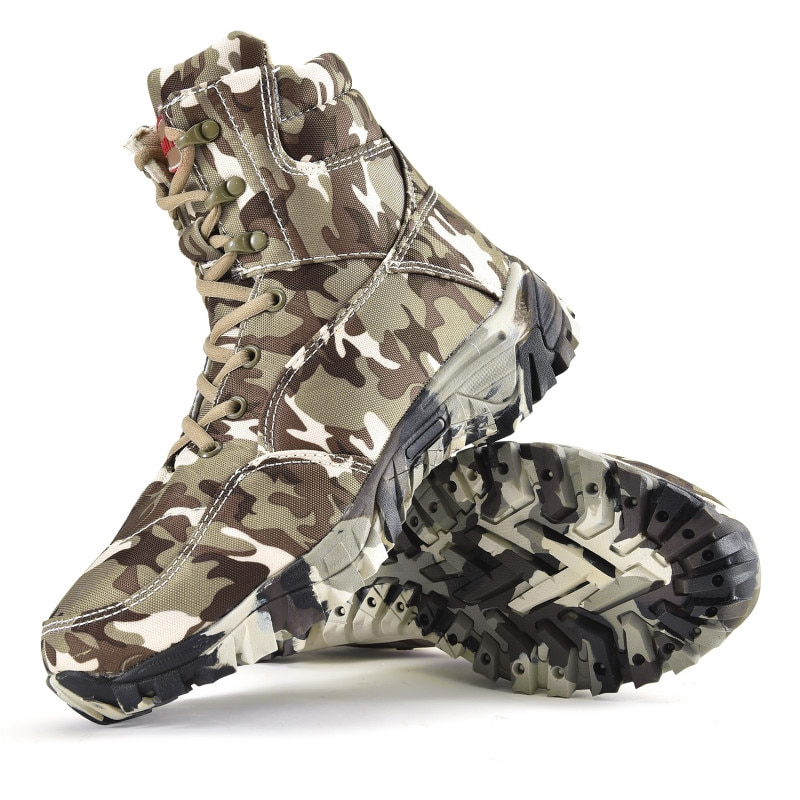 Military Army Men Boots Winter Lace Up Waterproof Outdoor Shoes Breathable Canvas Camouflage Tactical Combat Desert Ankle Boots designer men winter military boots male snow fur combat ankle boots waterproof army rain shoes chaussure homme