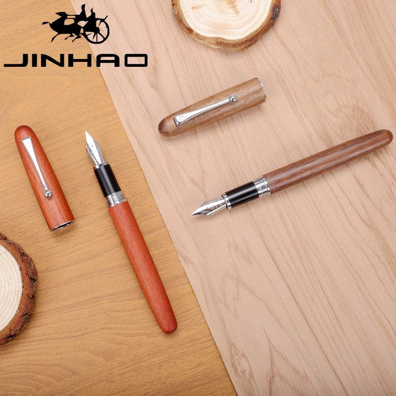 Heißer Jinhao Holz Brunnen Pen Größe F/M Nass/Architekten/Fude Nib Optional 0,58mm Nib Brunnen-stift Stifte Schule Büro Liefert Geschenk