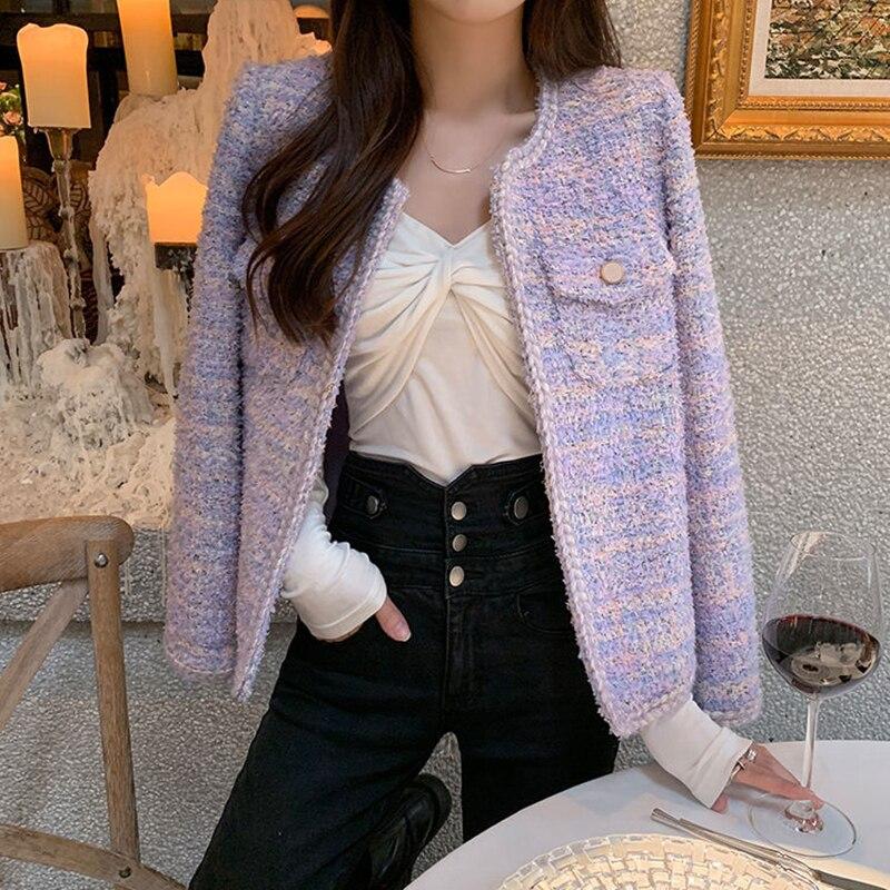 المرأة شيك اقتصاص سترة تويد الربيع السيدات أنيقة طويلة الأكمام Coats معاطف الكورية مستديرة الرقبة ملابس خارجية chaiyas الإناث