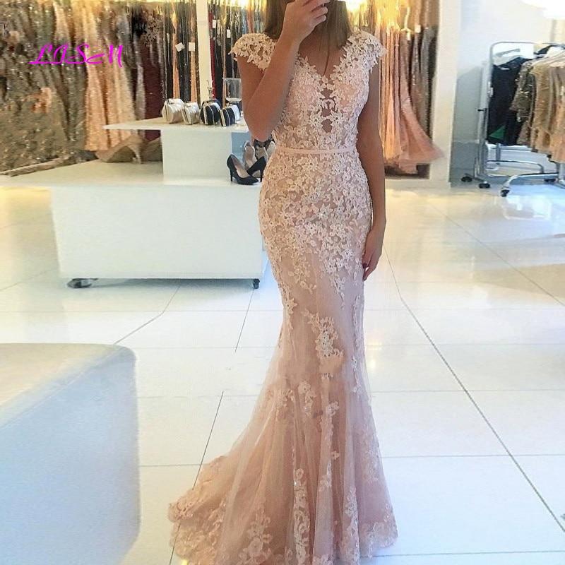 Elegant V-Neck Cap Sleeves Lace Tulle Mermaid Evening Gowns Floor Length vestido de fiesta Long Light Pink Prom Dress