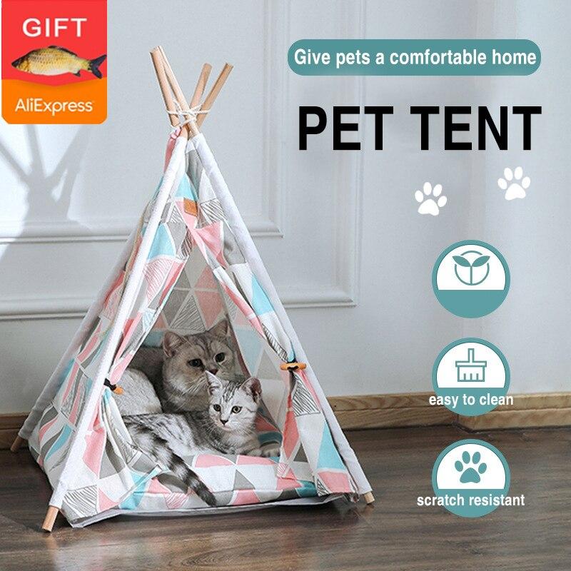 الحيوانات الأليفة خيمة منزلية سرير للقطط المحمولة تيبي مع وسادة سميكة و 6 ألوان المتاحة للكلاب جرو رحلة داخلي (الحرة لعبة على شكل سمكة)
