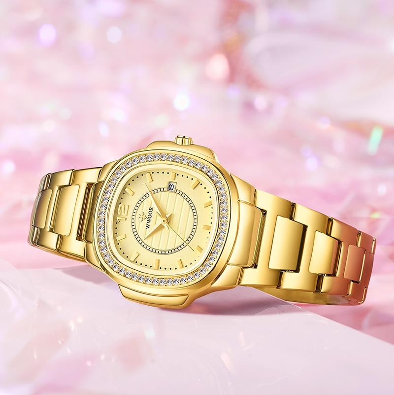 WWOOR Top Brand Fashion Rectangle Women Watch 2021 Luxury Diamond Quartz Watch Gift Date Clock Gold Watch For Women Reloj Hombre enlarge