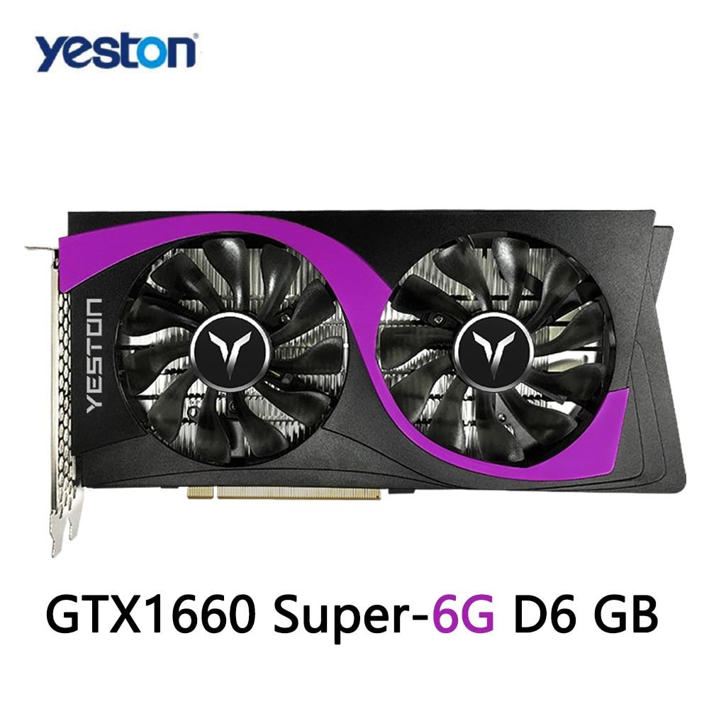 Yeston GTX1660 Super-6G D6 Gaming Graphics Card 6GB 12nm 1530/1785MHz 6G/192bit/GDDR6 PCI-Express 3.