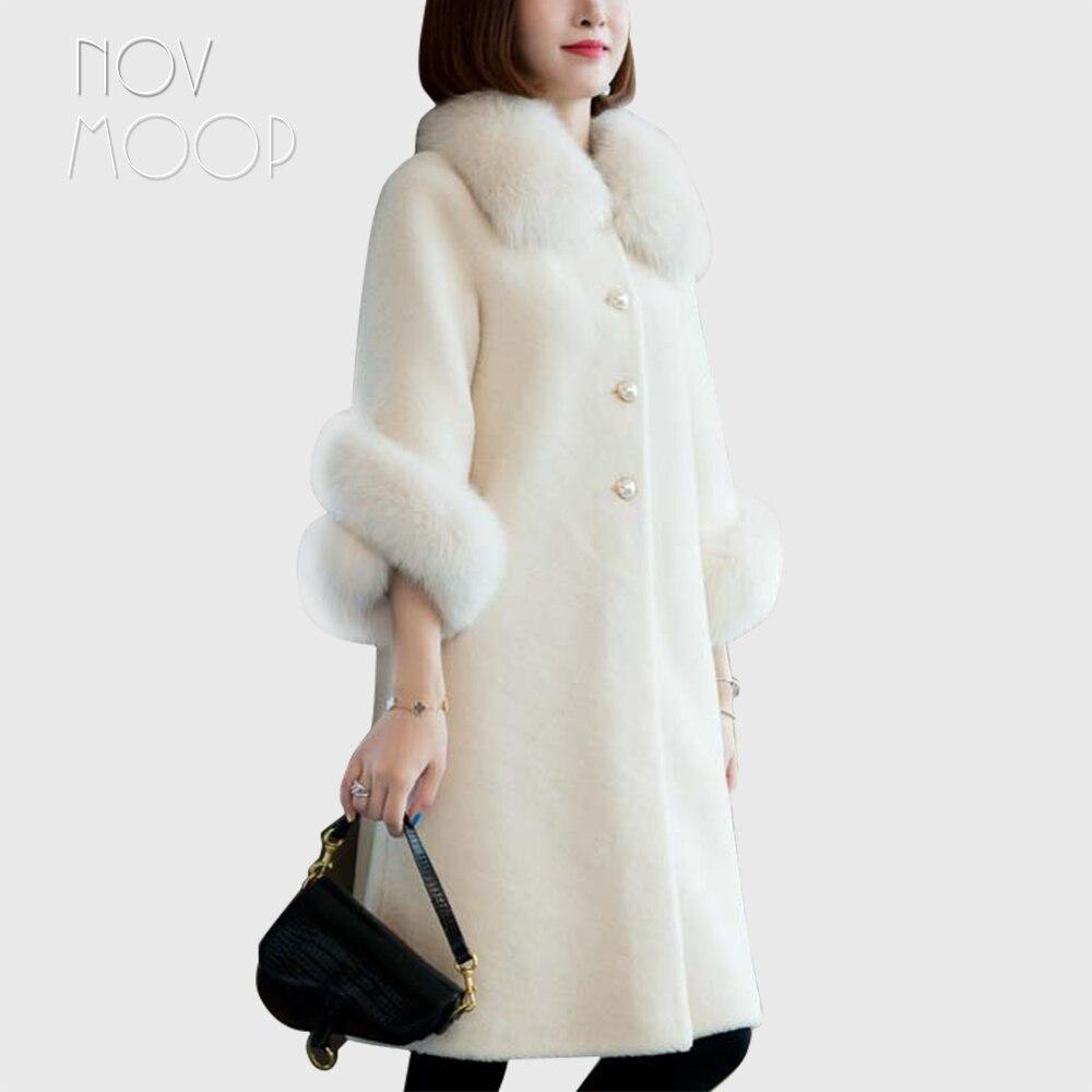 Novmoop calle principal 2019 Otoño Invierno mujer blanco beige cuello de piel...