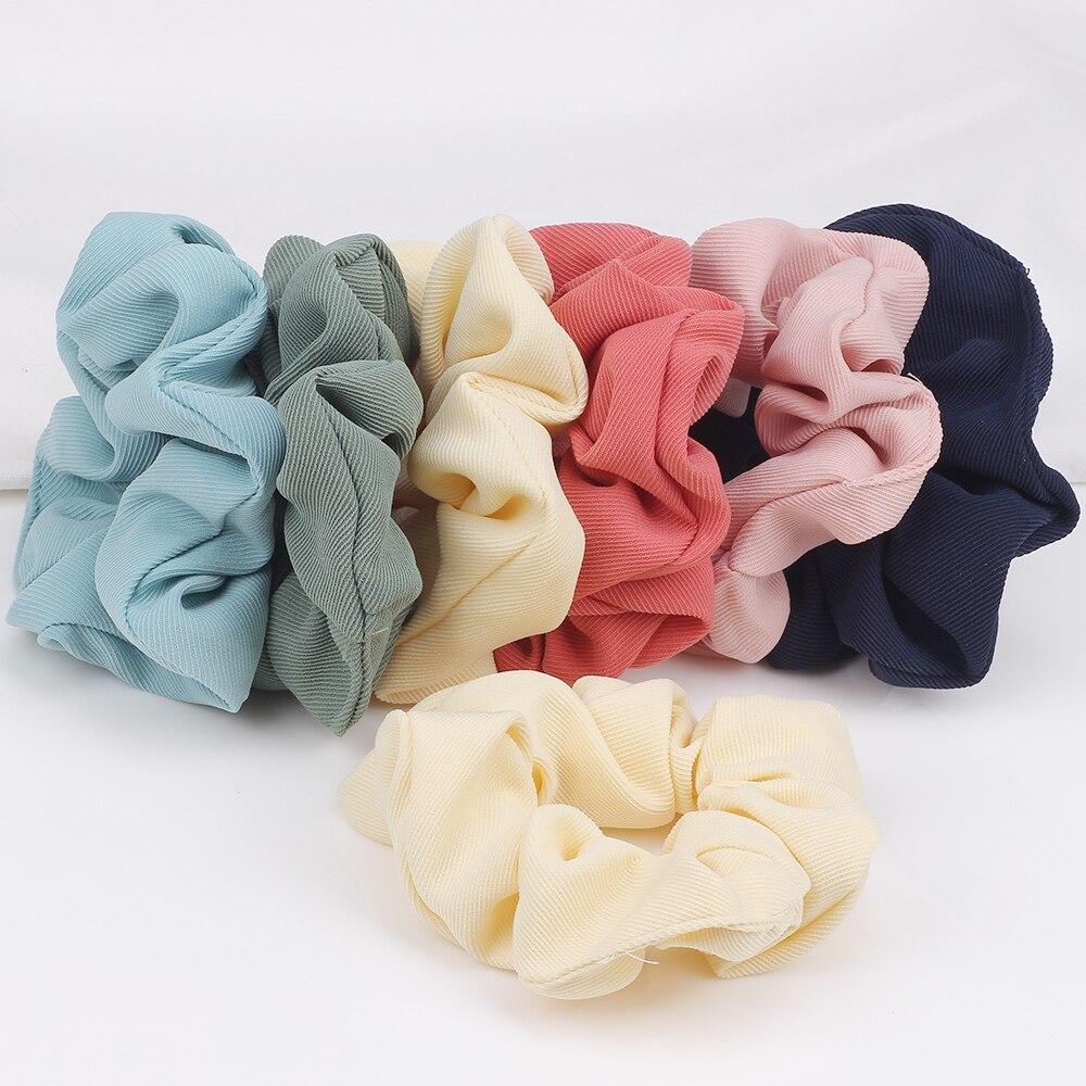 Scrunchies de pelo de Color liso Vintage de algodón Scrunchie para bandas de cabello para mujeres Tie Girls coleta titular accesorios para el cabello