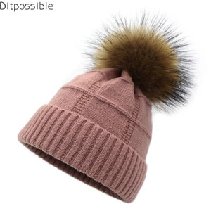 Ditpossible women new winter hats natural fur hat pompom wool knitted caps gorro touca skullies beanies
