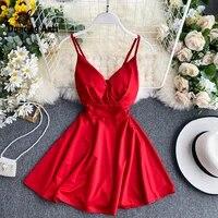 women a line sexy dress v neck spaghetti strap backless mini dresses soild color vestidos slim trend 2020 high waist for party