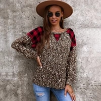 2021 new leopard winter clothes women sweatshirt long sleeve round neck aesthetic patchwork pullovers streetwear woman tops