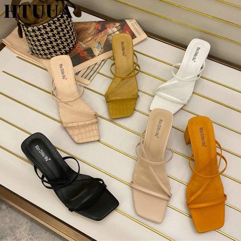 HTUUA 2020 New Summer Women Sandals High Square Heel Flip Flop Brand Slippers Elegant Ladies Slides Beach Outdoor Shoes SX3850