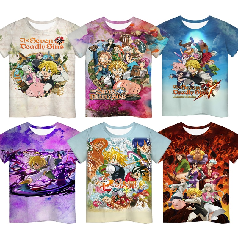 Anime The Seven Deadly Sins 3D Print Tshirts for Boys Girls Kids Cartoon T Shirts Children Short Sleeves T-shirts Summer Clothes neil t anderson the bondage breaker overcoming negative thoughts irrational feelings habitual sins unabridged