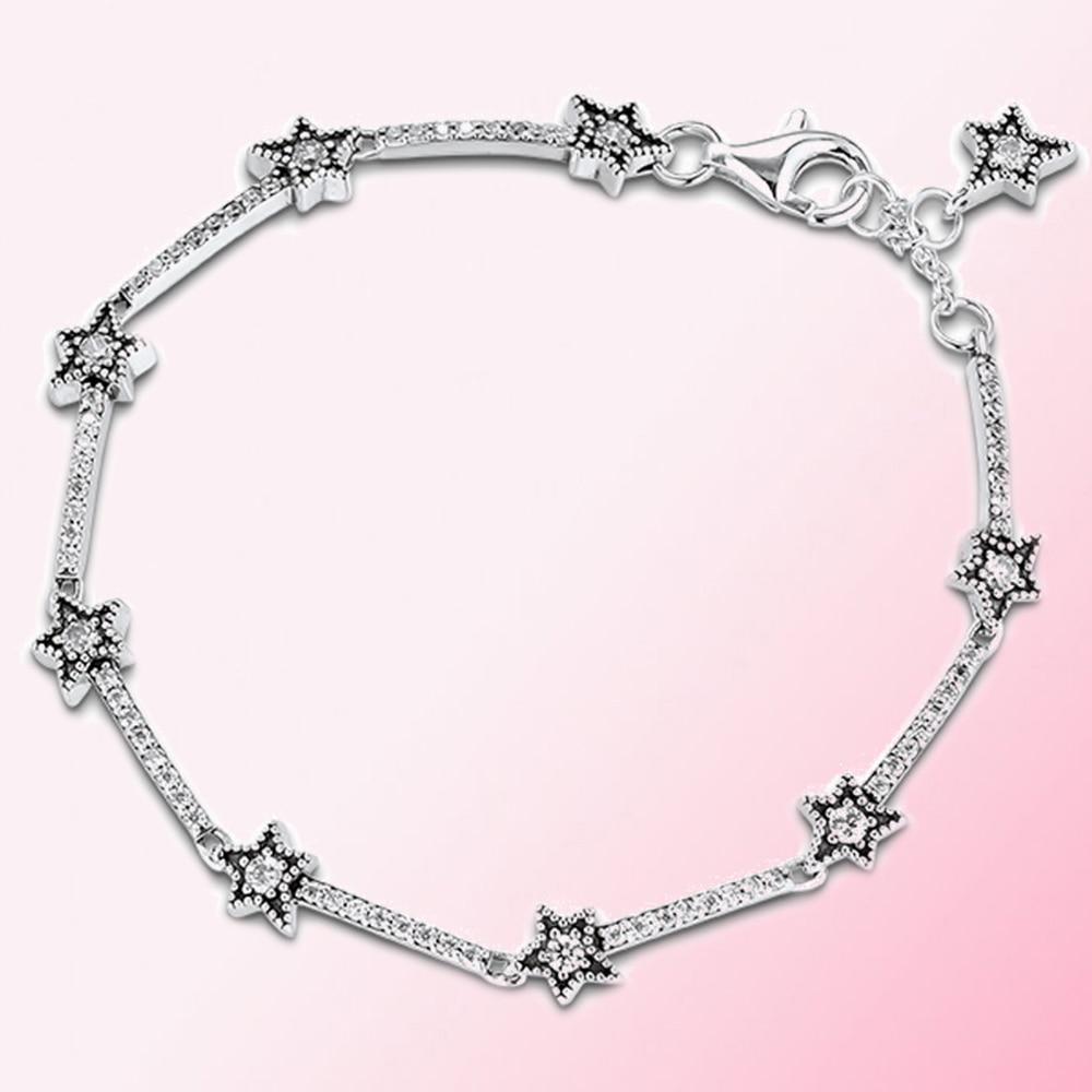 100% Plata de Ley 925 1 1 pulsera de estrellas celestes plata de ley joyería de moda para mujeres fabricante al por mayor