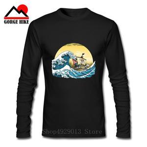 ONE PIECE T Shirt Funny Japanese Style Great Wave Off Kanagawa T-Shirt Mens Printed Tee Shirt pirate 3D Long Sleeve 3xl Tshirt