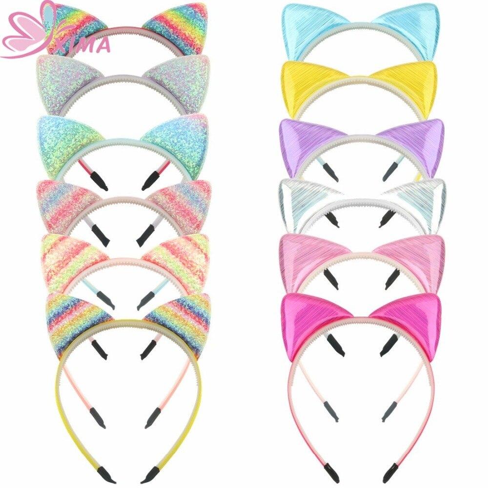 Próxima 1 peça mulheres headbands arco-íris orelhas de gato bandana com dentes de plástico faixa de cabelo para festa de cabelo hoop acessórios de cabelo