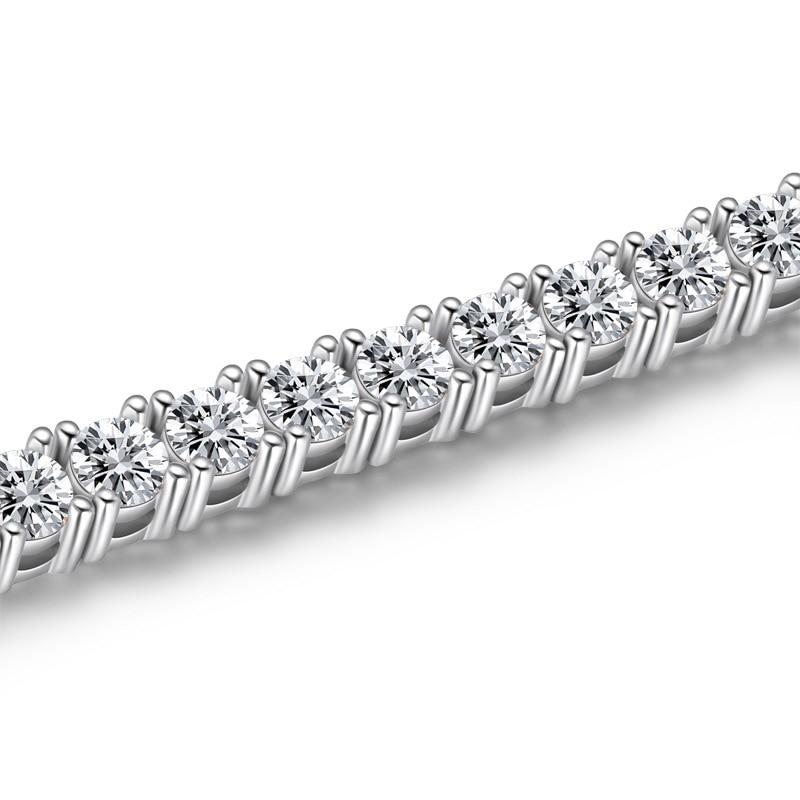 PANSYSEN 3MM Round Cut Charm Bracelets 925 Sterling Silver Created Moissanite Diamond Tennis Bracelet Fine Jewelry Drop Shipping