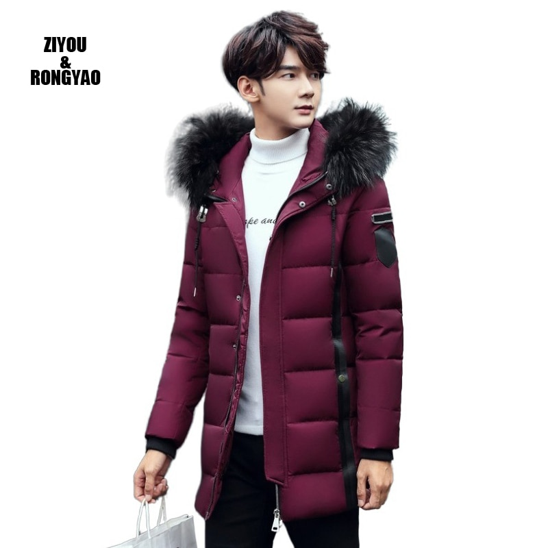 2020 Men Winter Jacket Hooded Coat Snow Parka Down Jacket Outerwear Thick Thermal Men Warm Wool Liner Coat  White Duck Down Coat