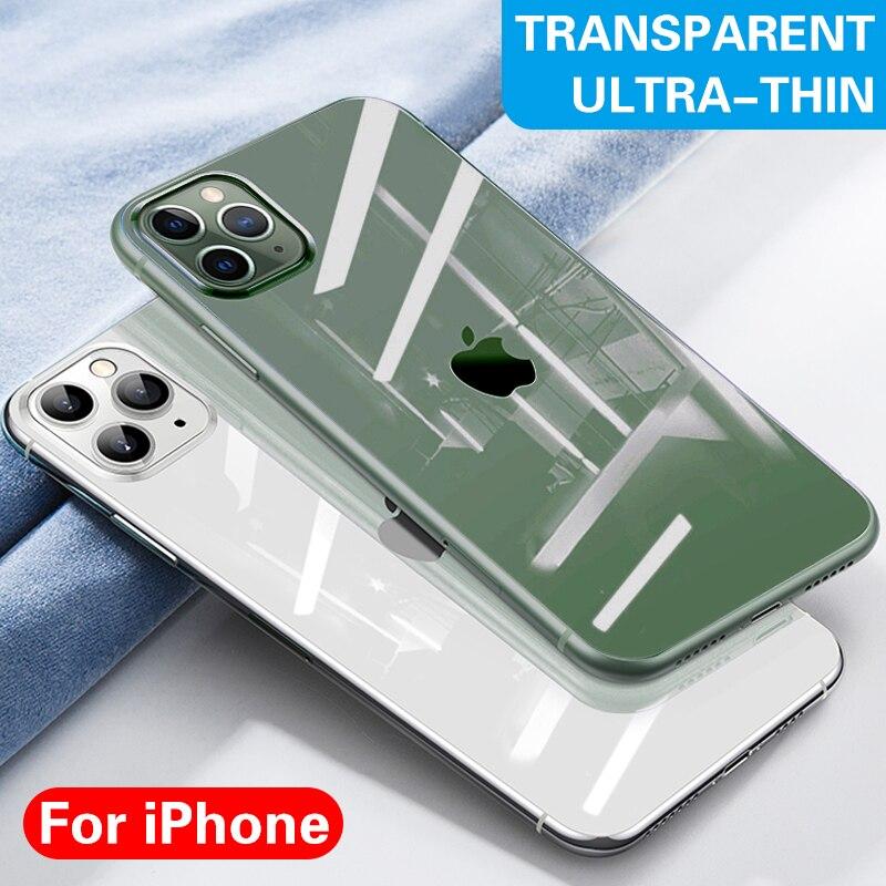 Capa de celular ultra fina de silicone, para iphone 11 pro max xr xs max x 7 8 6 6s plus tpu macio transparente tampa traseira