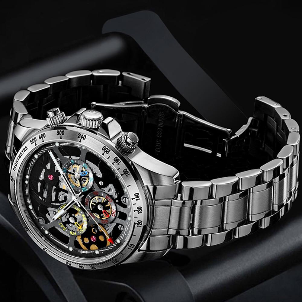 HAIQIN الرجال الساعات 2020 الفاخرة التلقائي العلامة التجارية الفاخرة الميكانيكية ساعات المعصم للرجال الهيكل العظمي 5Br مقاوم للماء Reloj hombres