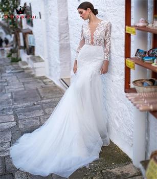 Elegant Mermaid Wedding Dresses V-neck Long Sleeve Tulle Lace Crystal Luxury Bridal Gown 2022 New Design Custom Made DS56