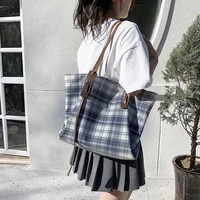 canvas plaid striped tote for women shopper weekender casual ladies handbags large capacity korean female shoulder bag 2021 new
