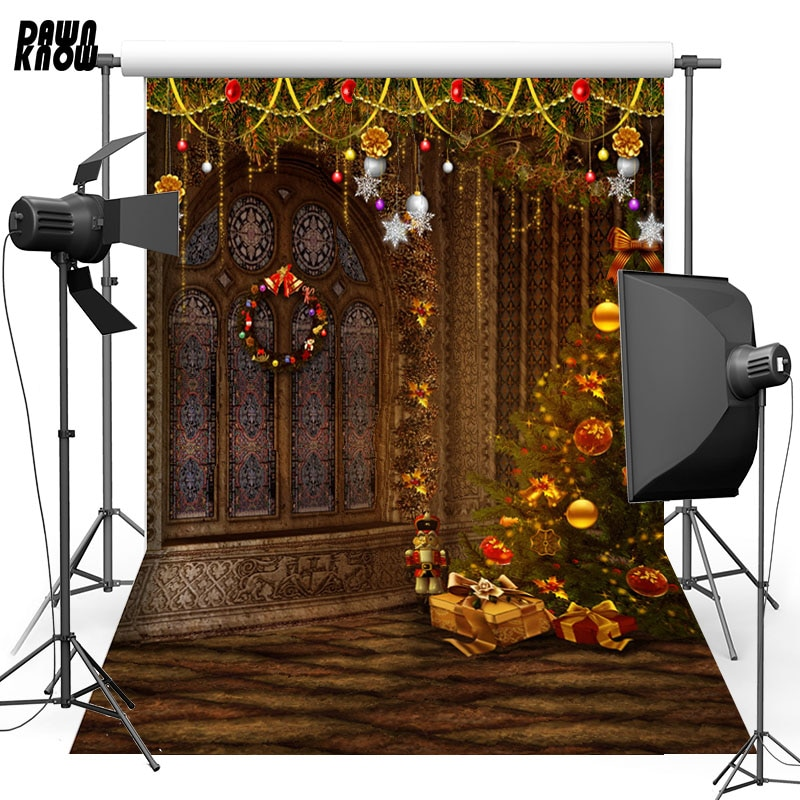 DAWNKNOW Window Vinyl Photography Background For Baby Christmas Tree Photo Shoot Backdrop For Christmas Photo Studio L823