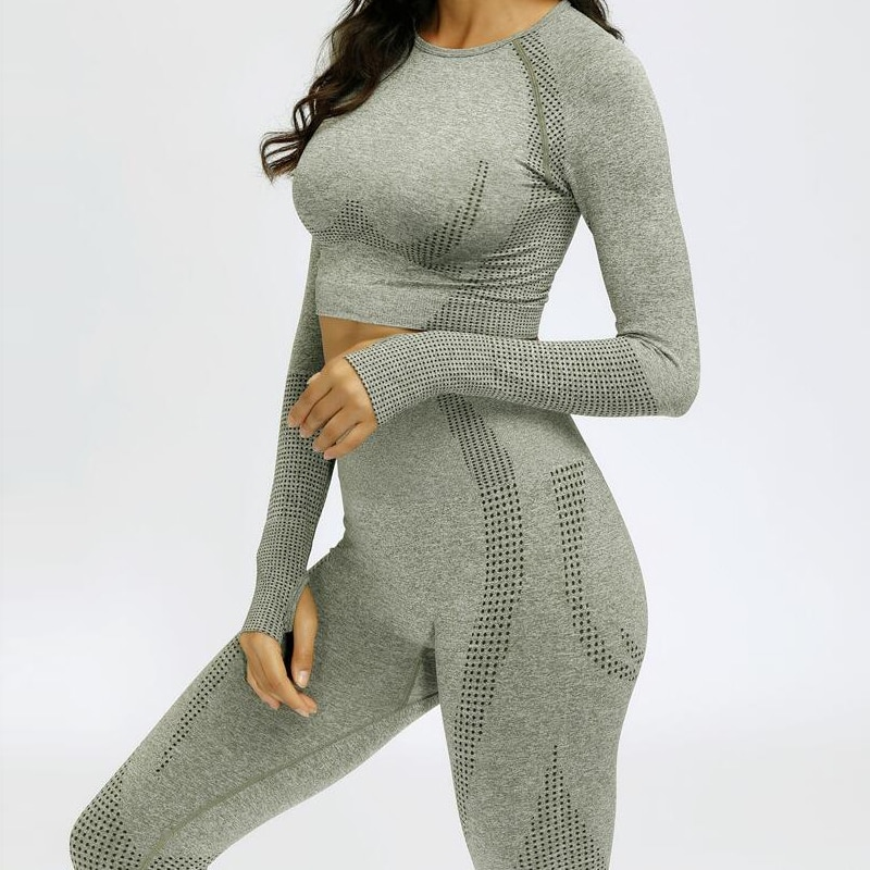 2021 Women Seamless Yoga Set Fitness Sports Suits GYM Cloth Yoga Long Sleeve Shirts High Waist Runni