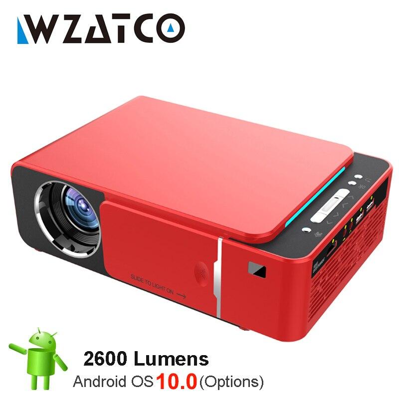 WZATCO-Proyector LED T6 para cine en casa, dispositivo de proyección portátil HD...