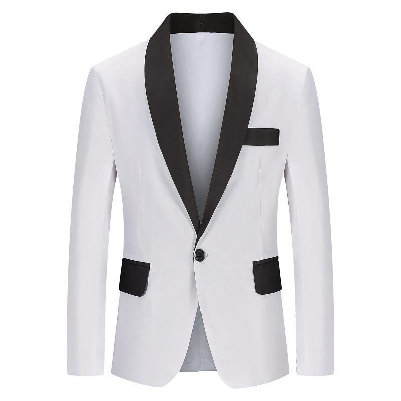 2021 Men Slim Fit Blazer Jacket Fashion Mens Patwork Suit Jacket Male Wedding Dress Casual Business