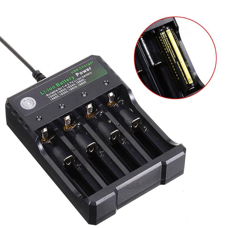 4 slotscharger cargador de batería recargable USB carga rápida 3,7 V 14500/16650/14650/18350/18500/18650 Cargador de baterías de iones de litio