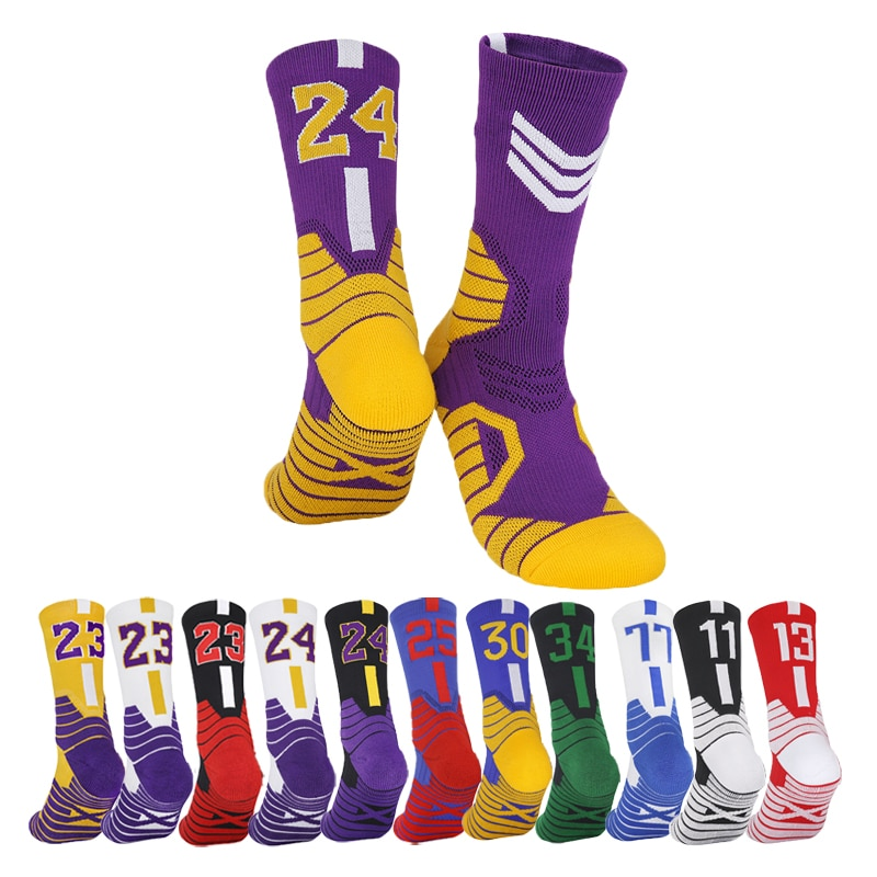 Men Professional Basketball Socks Non-Silp Number Sports Socks Middle Thickened Towel Bottom Child Team Match baloncesto Socks
