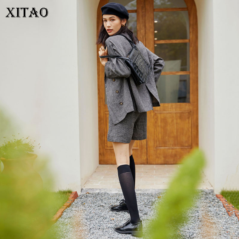 بلوزة صدر واحدة من XITAO موضة جديدة للنساء بأكمام كاملة وجيب للإلهة موديل غير رسمي 2021 قميص خريفي للأقلية WLD6479