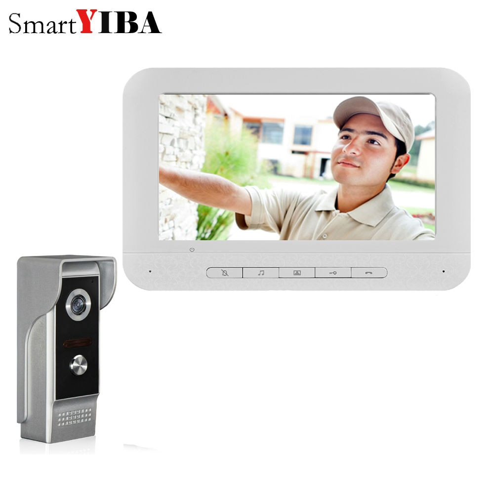 SmartYIBA-جرس باب بالفيديو سلكي مع شاشة ملونة LCD مقاس 7 بوصات ، نظام اتصال داخلي للرؤية الليلية 700TVL ، هاتف فيديو منزلي ، اتصال داخلي