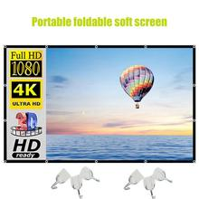 100 Inch Portable 3D HD Projection Screen Office Home Indoor Foldable Projection Cloth With Black Bo