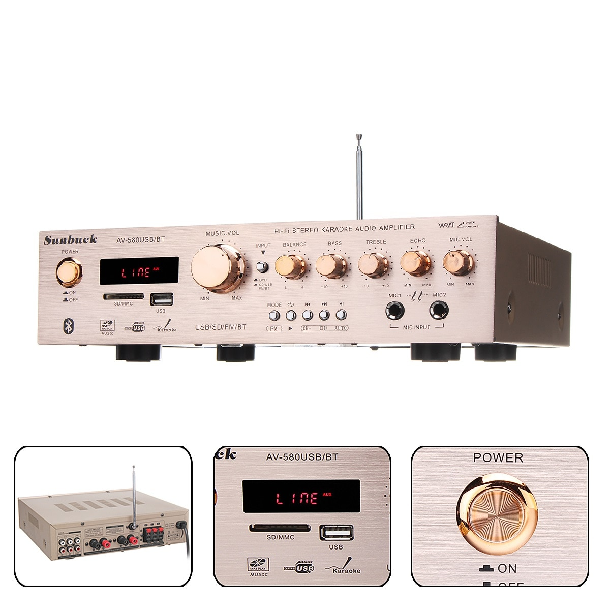 580BT 5CH Bluetooth amplificadores HiFi Amplificador AV envolvente, procesador de Audio Digital...