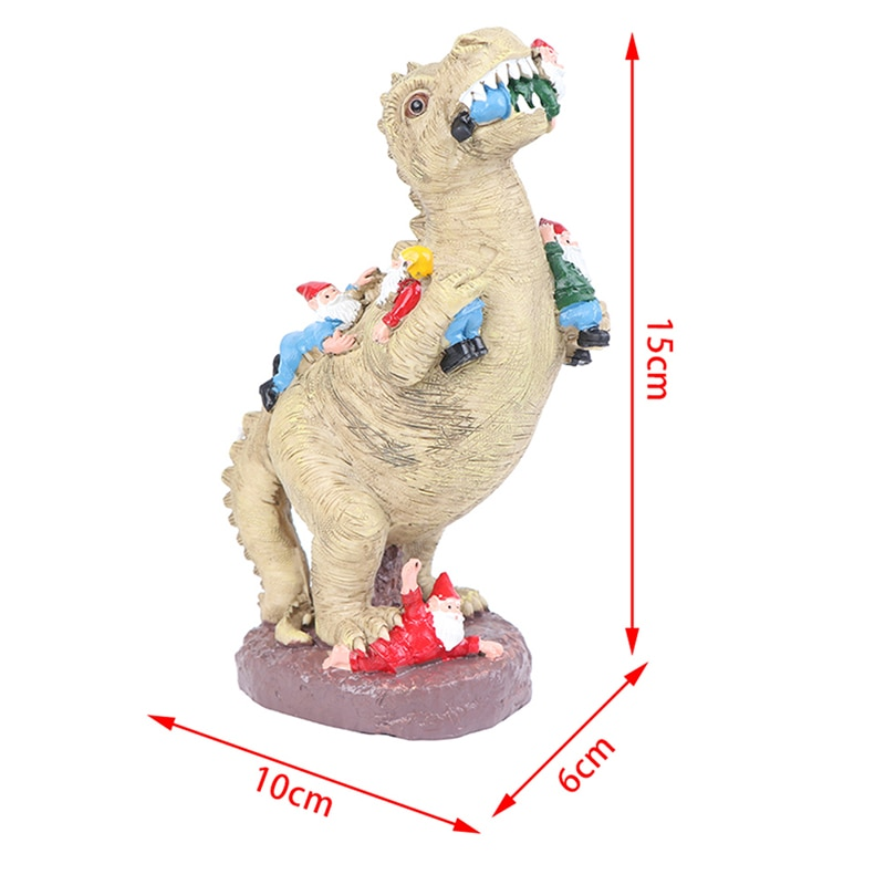 15/30cm Large Resin Dinosaur Dwarf Figurine Statue Lifelike Hilarious Eating Gnome Animal Sculpture Outdoor Home Garden Ornament