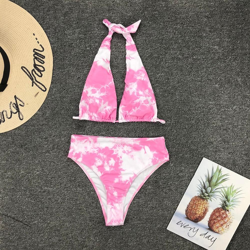 Omkagi biquíni de cintura alta maiô sexy rosa tie-tingido biquínis conjunto de natação beachwear push up bikini banho feminino