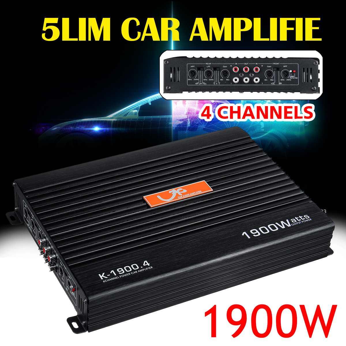 Amplificador de Audio para coche DC12V 4CH 1900W, Amplificador de potencia de Audio HIFI, Amplificador estéreo con Radio FM y USB