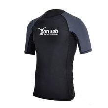 Yon Sub hommes Surf Protection contre les éruptions cutanées haut à manches courtes séchage rapide Surf planche à voile plongée T-Shirt uv-protection maillot de plage