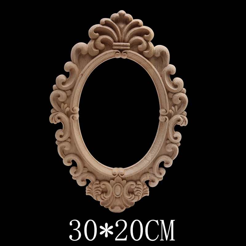 Ornamental Decoration Modern Wood Craft Wood Decal Onlay Oval Floral Long Rubber Wood Cabinet Walls Furniture Cabinet European