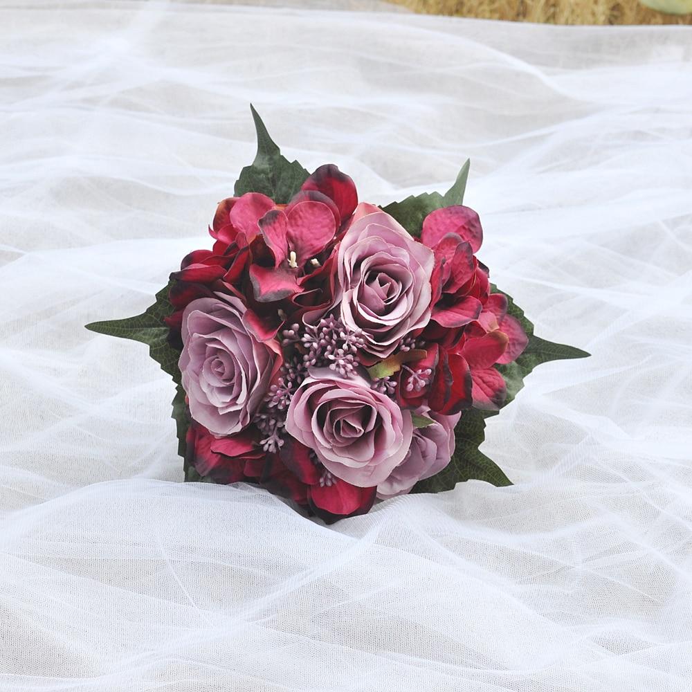 100% Свадебный букет невесты ручной работы, букет подружки невесты, свадебные принадлежности, букет искусственных роз, цветочное украшение д...