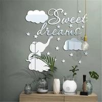 Autocollant mural miroir elephant nuages  doux reve  citations  decoration de maison  dessin anime Animal 3D  autocollant mural en acrylique pour chambre denfants