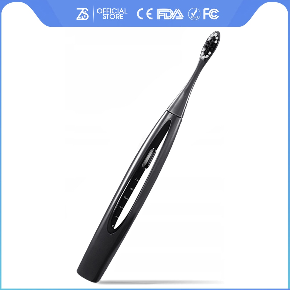 [ZS] 5 Mode USB Rechargeable Smart Teeth Whitening IPX7 Waterproof With Brushes Heads Clean For Adult Sonic Electric Toothbrush